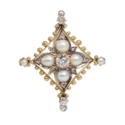 Gold and pearl brooch
