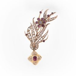 Diamond and gemstone brooch